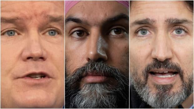 Canadian federal party leaders, from left: Conservative Leader Erin O'Toole, New Democrat Leader Jagmeet Singh, and Liberal Leader Justin Trudeau. (The Canadian Press - image credit)