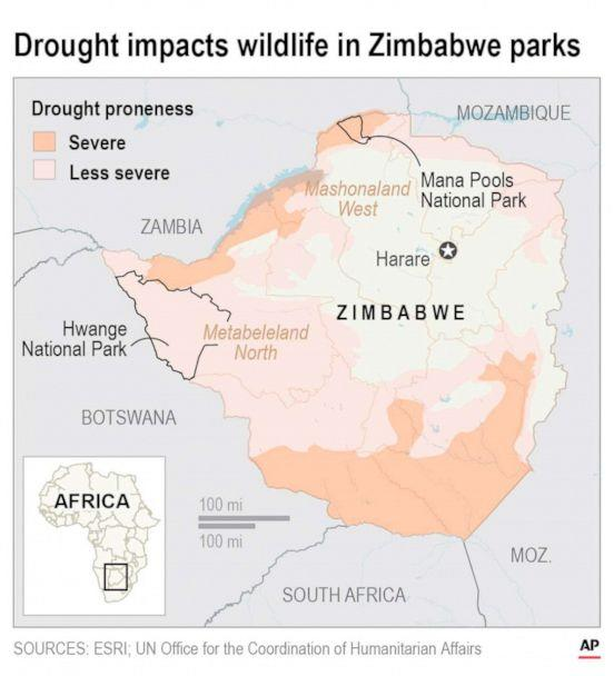 PHOTO: A map shows the areas where drought in Zimbabwe is killing elephants and other wildlife. (AP)