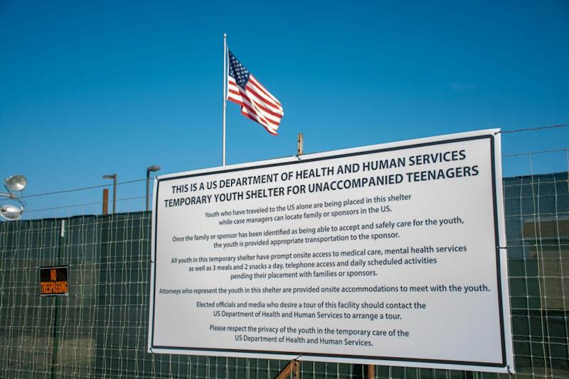 A sign at the US Department of Health and Human Services' unaccompanied minors migrant detention facility at Carrizo Springs, Texas.