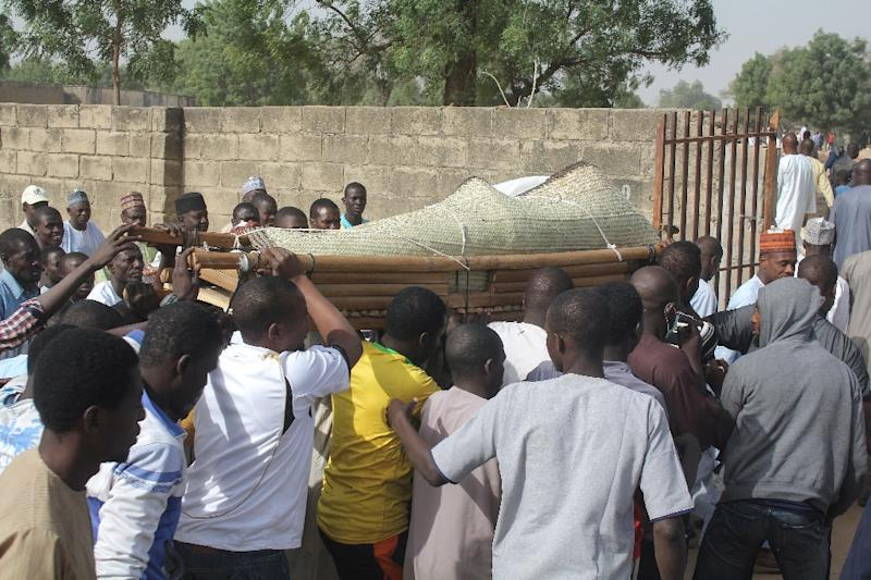 Funeral of a victim of a suspected jihadist attack in Maiduguri, the capital of Borno state, in the runup to elections in February. The assailants targeted a convoy carrying a state governor, killing four people (AFP Photo/Audu Ali MARTE)