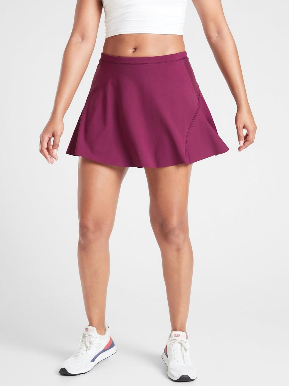 """<p>OK, this <span>Athleta Match Point Skort 15.5""""</span> ($44, originally $69) is cute even when you're just working out at home . . . but there are five pockets <em>and</em> shorts underneath when you hit the road, too. </p>"""
