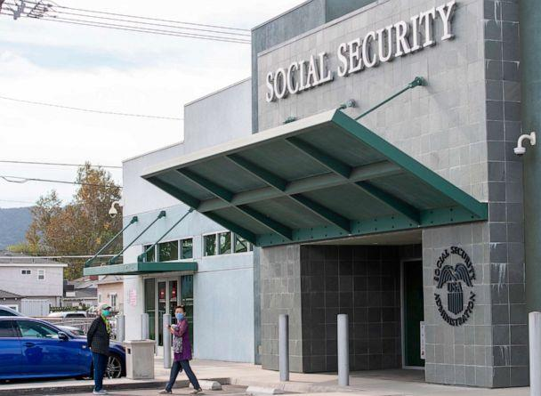 PHOTO: People wearing facemasks leave a Social Security Administration building in Burbank, Calif., Nov. 5, 2020. (Valerie Macon/AFP via Getty Images, FILE)