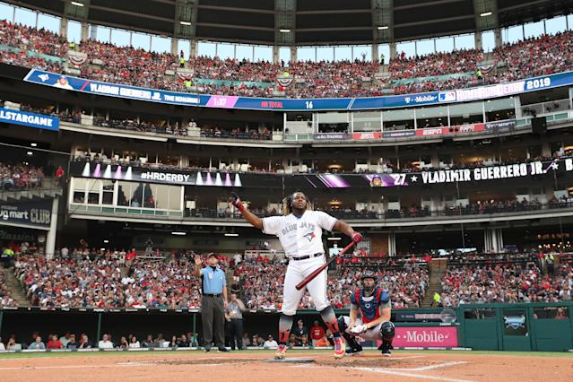 Vladimir Guerrero Jr. of the Toronto Blue Jays competes in the T-Mobile Home Run Derby at Progressive Field on July 08, 2019 in Cleveland, Ohio. (Photo by Gregory Shamus/Getty Images)