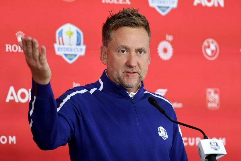 Special delivery: Europe's Ian Poulter meets the press before the 43rd Ryder Cup (AFP/Warren Little)