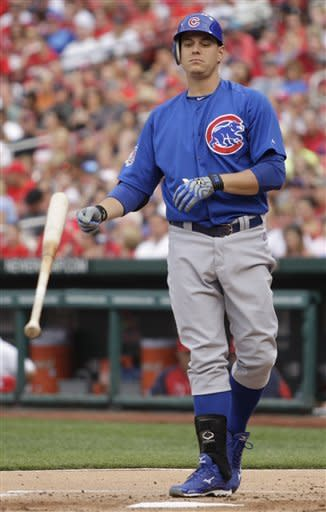 Chicago Cubs' Bryan LaHair tosses his bat after drawing a walk in the first inning of a baseball game against the St. Louis Cardinals, Saturday, July 21, 2012, in St. Louis. (AP Photo/Tom Gannam)