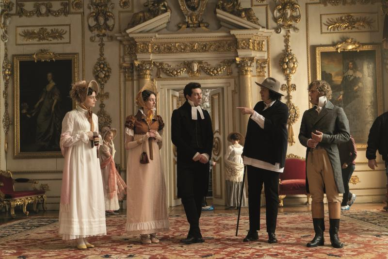 Amber Anderson, Tanya Reynolds, Josh O'Connor, director Autumn de Wilde, and Johnny Flynn at Wilton House