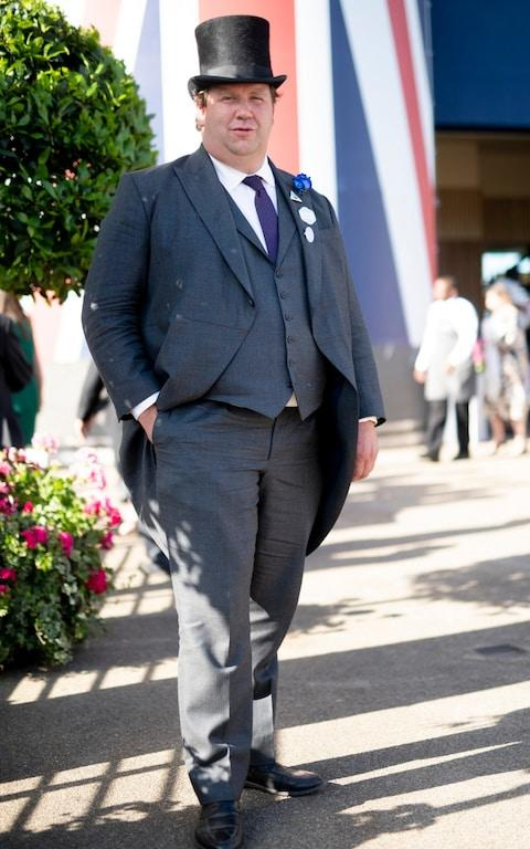 Johnno Spence at Royal Ascot, in the suit made for Thomas Markle for the Royal wedding - Credit: Geoff Pugh/Telegraph