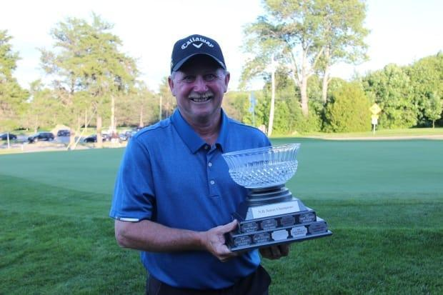 Darren Ritchie, who golfs out of the Hampton Golf Club, is seen here after winning the New Brunswick senior championship in July. He won the Canadian senior championship on Friday in Malbaie, Que. (Golf NB/Facebook - image credit)
