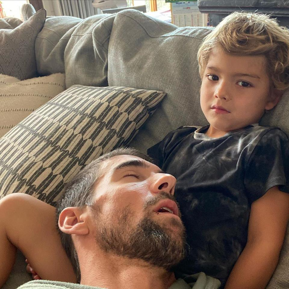 """<p>The Olympic swimmer's son Boomer, 4, has his own Instagram account, and shared <a href=""""https://www.instagram.com/boomerrphelps/?hl=en"""">this hilarious photo,</a> captioned: """"Ummm dad? Did you fall asleep on me?? 🙄""""</p>"""