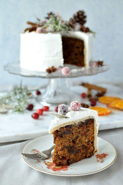 "<p><span>Topped with rich royal icing and rustic decorations like pinecones, dried orange slices, and sugared cranberries, this dessert is as elegant as it gets.</span></p><p><span></span><strong>Get the recipe at <a rel=""nofollow"" href=""http://domesticgothess.com/blog/2015/12/07/gingered-christmas-fruitcake-with-rustic-decorations/"">Domestic Gothess</a>.</strong><br></p>"