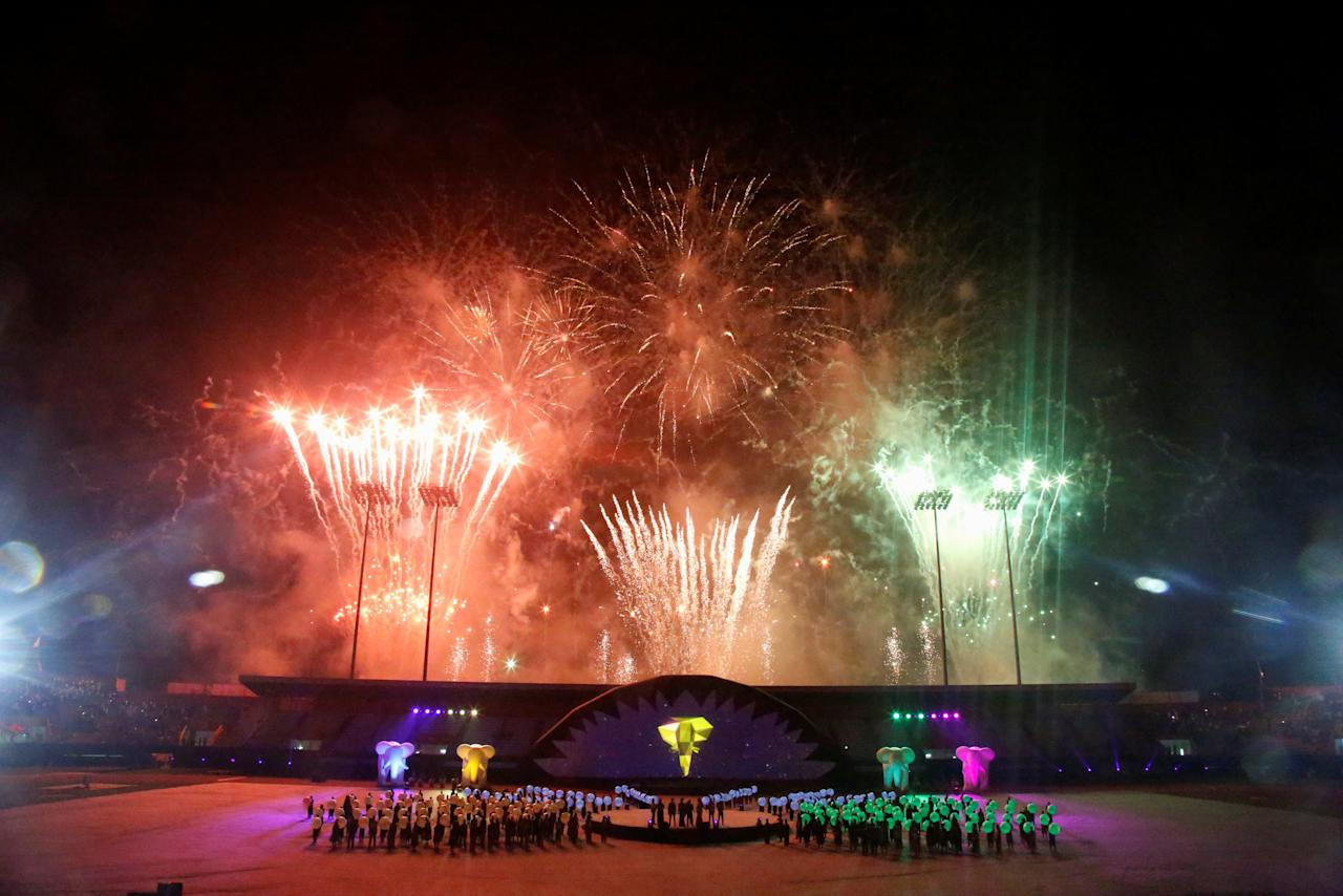 Fireworks is seen during the opening ceremony of the 8th Francophone Games at the Felix Houphouet-Boigny stadium in Abidjan, Ivory Coast July 21, 2017. REUTERS/Luc Gnago