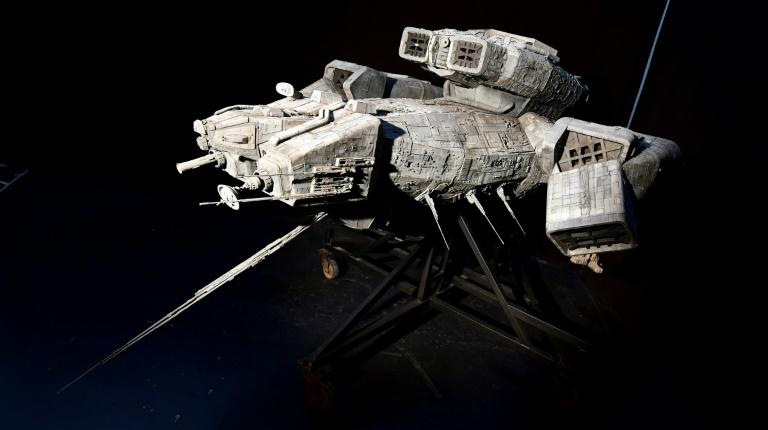"This 11-foot Nostromo, the principal filming model miniature space craft from Ridley Scott's science fiction film ""Alien"", has an auction estimate of $300,000 - 500,000 USD"