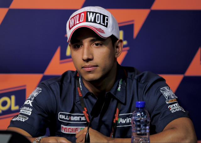 Avintia Blusens team's Colombian Yonny Hernandez attends a press conference at the Catalunya racetrack in Montmelo, near Barcelona, on May 31, 2012, on eve of the Catalunya Moto GP Grand Prix training sessions. AFP PHOTO / JOSEP LAGOJOSEP LAGO/AFP/GettyImages