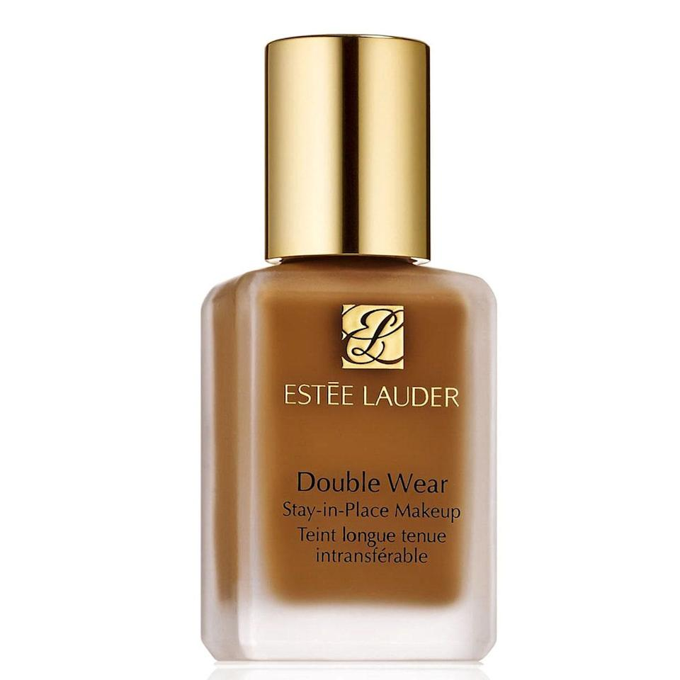"<p>This liquid foundation is an anti-shine person's dream. The <a href=""https://www.allure.com/review/estee-lauder-double-wear-makeup?mbid=synd_yahoo_rss"" rel=""nofollow noopener"" target=""_blank"" data-ylk=""slk:Estée Lauder Double Wear Stay-in-Place Foundation"" class=""link rapid-noclick-resp"">Estée Lauder Double Wear Stay-in-Place Foundation</a> comes in 56 shades and creates an even skin tone if you're trying to cover up blemishes. Keep in mind, it's full coverage, so if that's not your jam, you can use it as a spot cover-up because it's also great for that.</p> <p><strong>$42</strong> (<a href=""https://fave.co/2IwY5Dl"" rel=""nofollow noopener"" target=""_blank"" data-ylk=""slk:Shop Now"" class=""link rapid-noclick-resp"">Shop Now</a>)</p>"