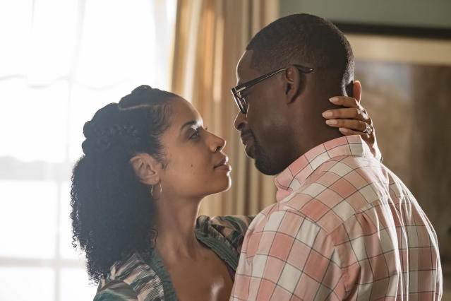 <p>Susan Kelechi Watson as Beth and Sterling K. Brown as Randall in NBC's <i>This Is Us</i>.<br>(Photo: Ron Batzdorff/NBC) </p>