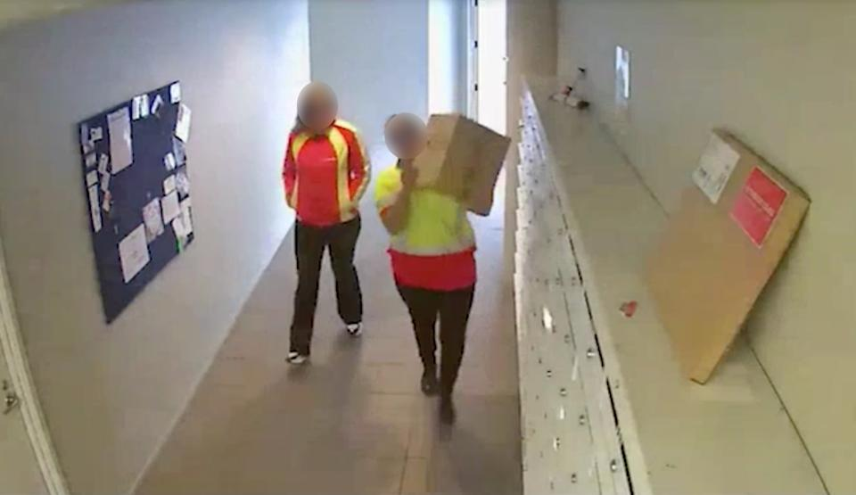 The two bandits were caught on CCTV nicking packaged from an Auckland apartment complex. Source: Stuff via Facebook
