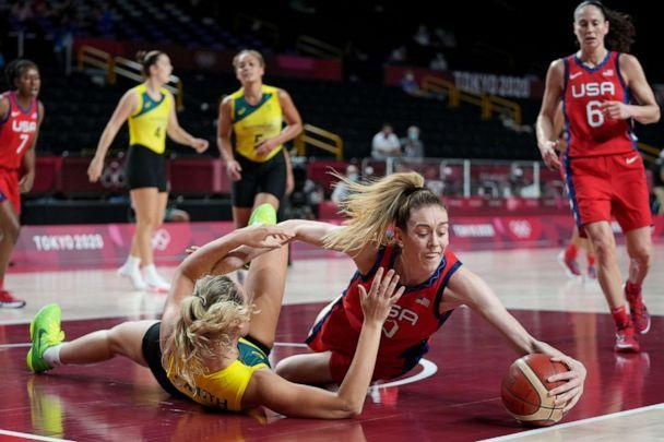 PHOTO: Breanna Stewart of the USA competes for the ball with Alanna Smith of Australia during the Women's Quarterfinal Basketball match during the Tokyo Olympic Games in Saitama, Japan, Aug. 4, 2021. (JOE GIDDENS/EPA-EFE/Shutterstock)