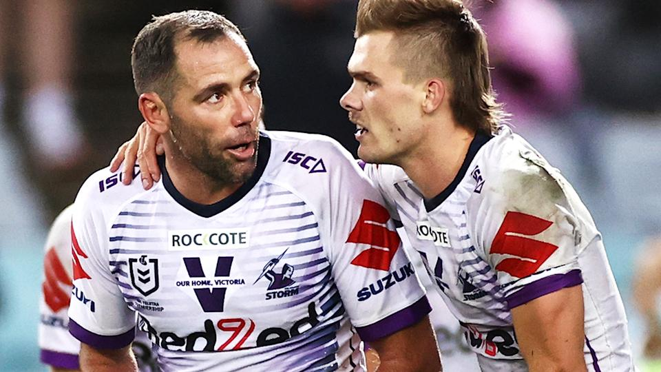 Ryan Papenhuyzen and Cameron Smith, pictured here after the NRL grand final.
