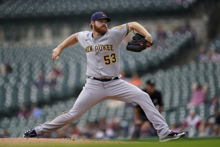 Milwaukee Brewers pitcher Brandon Woodruff throws against the Detroit Tigers in the third inning of a baseball game in Detroit, Wednesday, Sept. 15, 2021. (AP Photo/Paul Sancya)