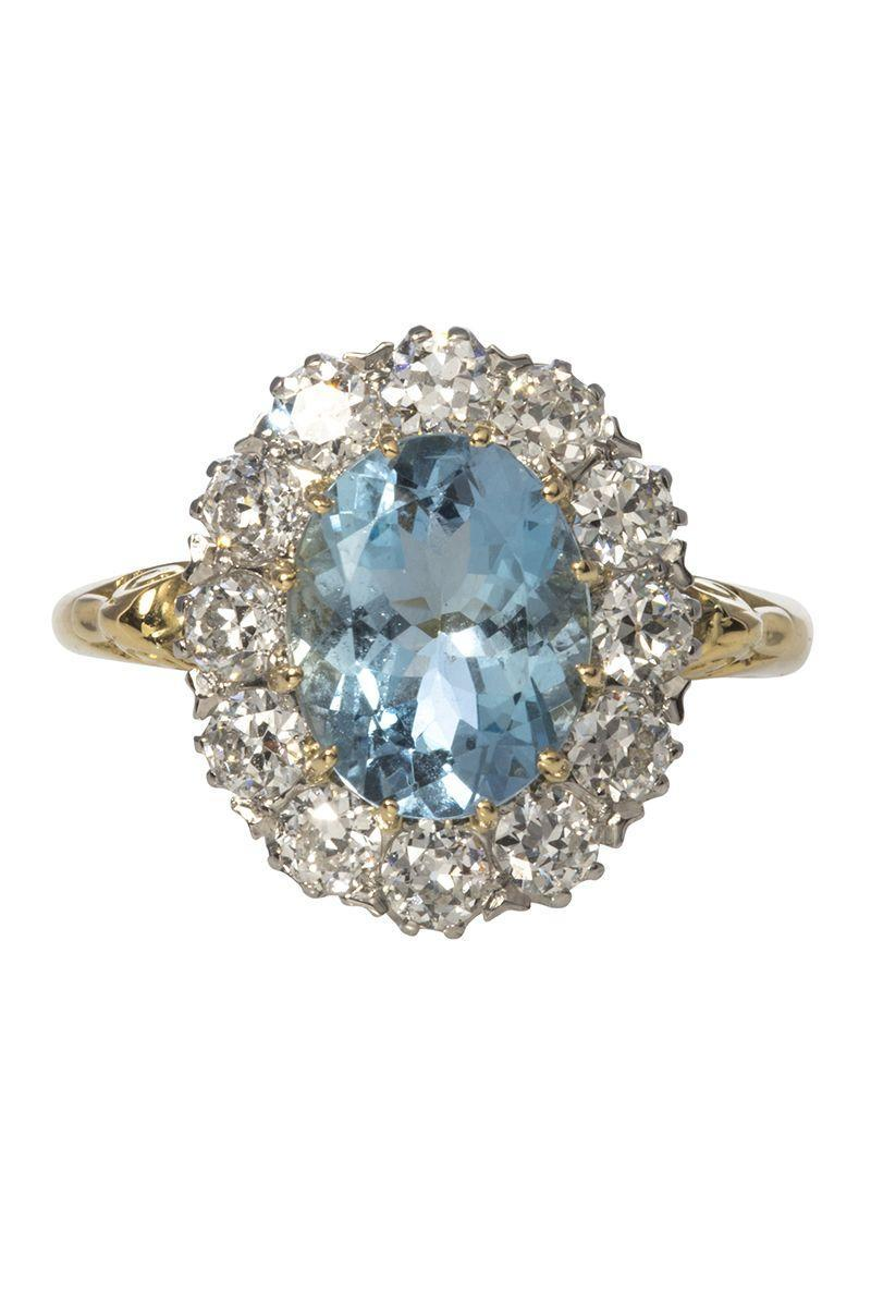 "<p><em><strong>Croghan's Jewel Box</strong> Victorian Aquamarine & Diamond Halo Engagement Ring, $6,560, circa the 1900s, <a href=""https://www.croghansjewelbox.com/collections/estate-jewelry-rings/products/victorian-2-25ct-aquamarine-diamond-halo-engagement-ring"" rel=""nofollow noopener"" target=""_blank"" data-ylk=""slk:croghansjewelbox.com"" class=""link rapid-noclick-resp"">croghansjewelbox.com</a></em></p><p><a class=""link rapid-noclick-resp"" href=""https://www.croghansjewelbox.com/collections/estate-jewelry-rings/products/victorian-2-25ct-aquamarine-diamond-halo-engagement-ring"" rel=""nofollow noopener"" target=""_blank"" data-ylk=""slk:SHOP"">SHOP</a></p>"