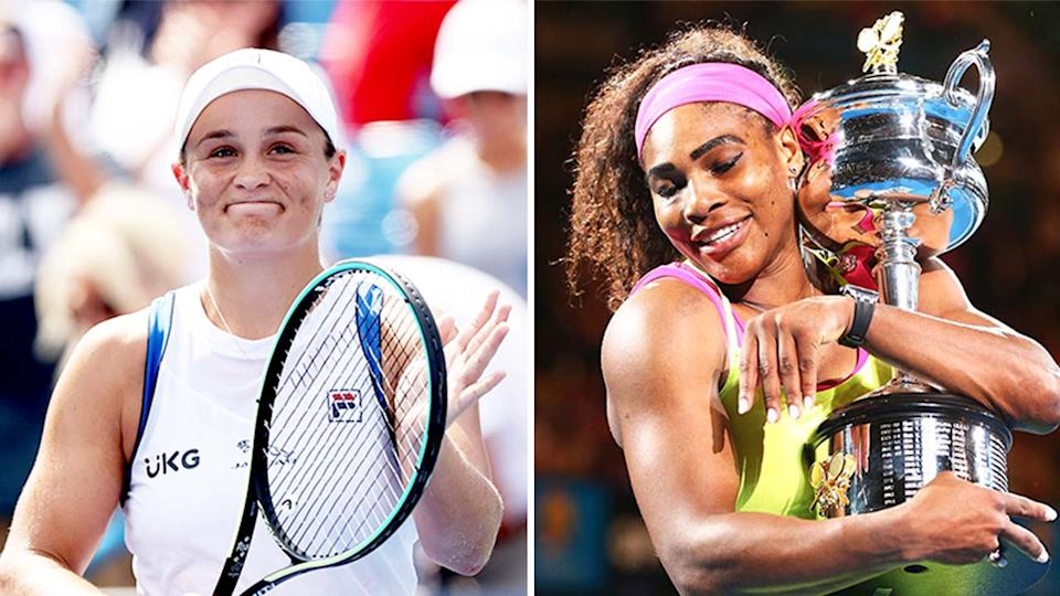Ash Barty (pictured left) thanking the fans after her win and (pictured right) Serena Williams hugging the Australian Open trophy.