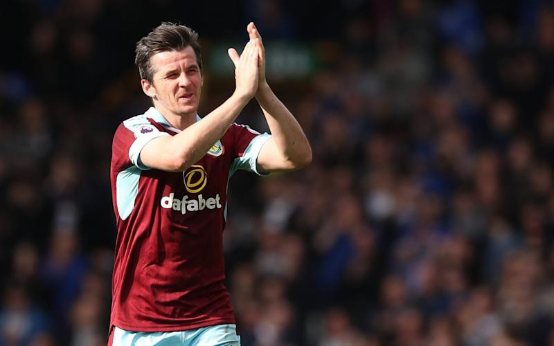 Burnley's Joey Barton applauds supporters during the Premier League match at Goodison Park - Credit: PA