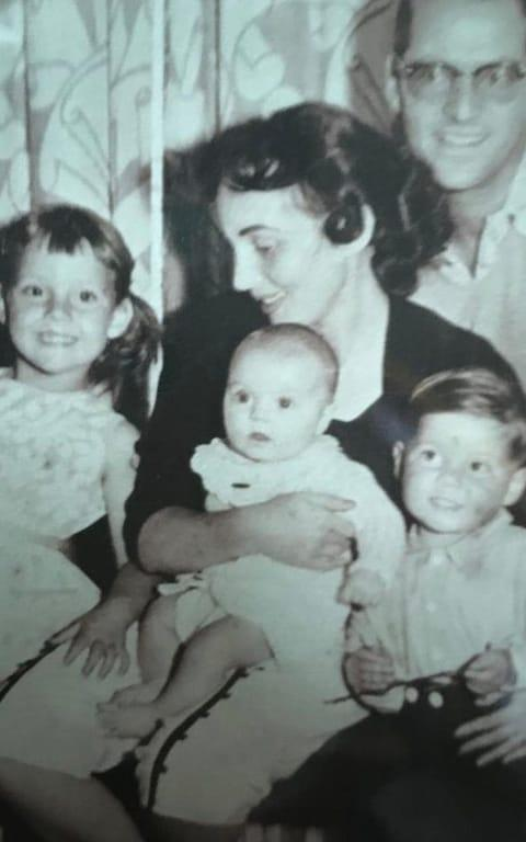 Ruth with her husband Charles Levin, daughters Bernice (L), Diane (C) and son Martin (R) - Credit: TMG
