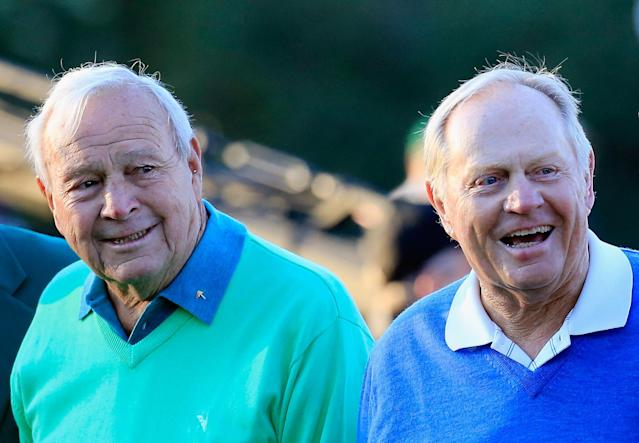 <p>Honorary starters Arnold Palmer and Jack Nicklaus wait on the first tee at the start of the first round of the 2014 Masters Tournament at Augusta National Golf Club on April 10, 2014 in Augusta, Georgia. (Photo by Rob Carr/Getty Images) </p>
