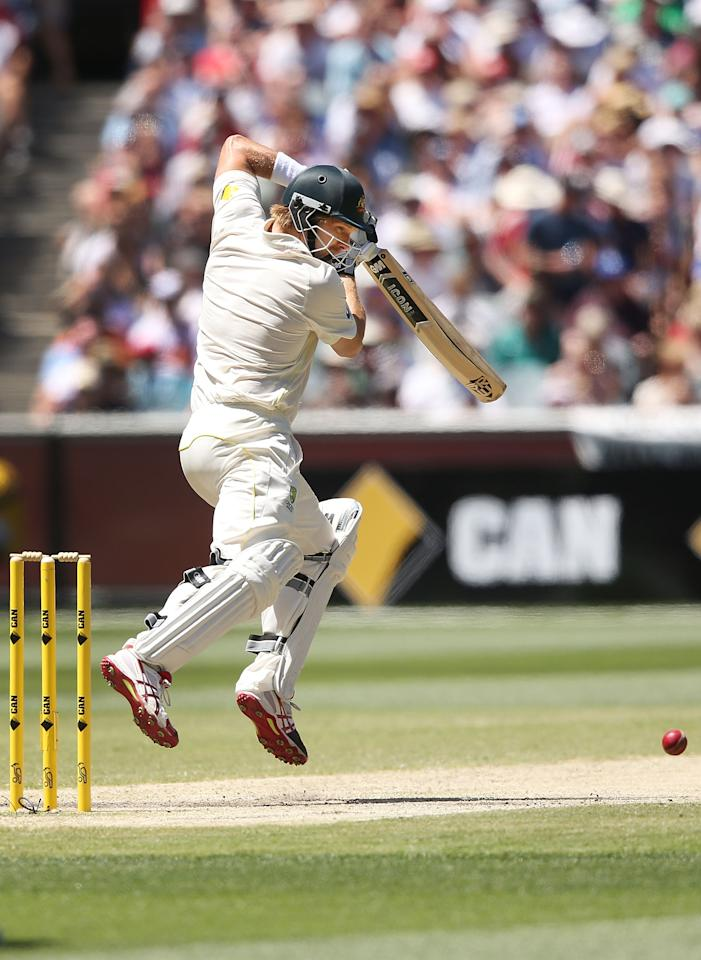 MELBOURNE, AUSTRALIA - DECEMBER 29:  Shane Watson of Australia hits the ball during day four of the Fourth Ashes Test Match between Australia and England at Melbourne Cricket Ground on December 29, 2013 in Melbourne, Australia.  (Photo by Michael Dodge/Getty Images)