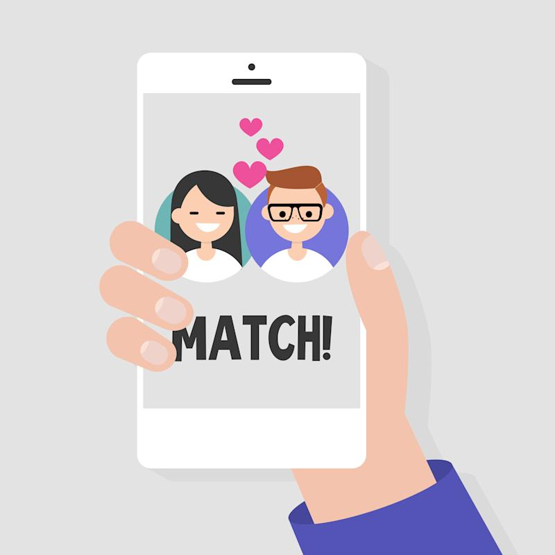 Dating service, mobile application. A hand holding a smart phone. Love and relationships. Interracial couple / flat editable vector illustration, clip art