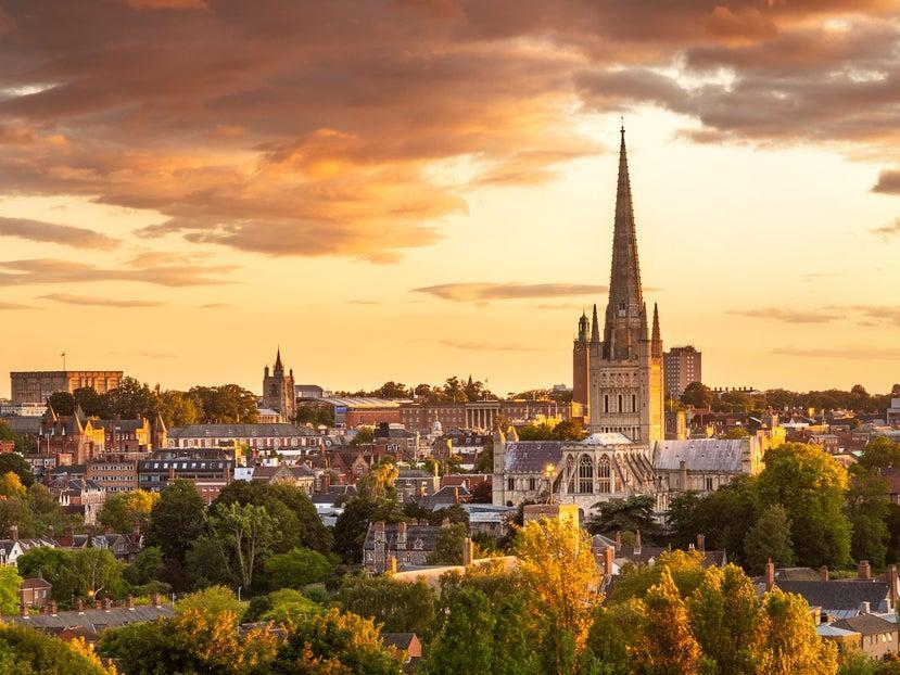 Sunset over Norwich (Getty/iStock)