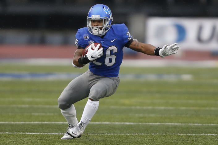 Buffalo running back Jaret Patterson carries the ball during the first half of the team's NCAA college football game against Akron in Amherst, N.Y., Saturday Dec. 12, 2020. (AP Photo/Jeffrey T. Barnes)