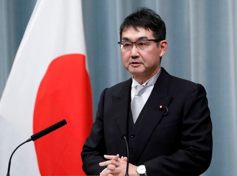 Japan's Justice Minister Kawai attends a news conference at PM's official residence in Tokyo