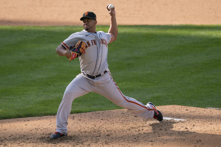 San Francisco Giants relief pitcher Wandy Peralta throws a pitch during the ninth inning of a baseball game against the Philadelphia Phillies, Wednesday, April 21, 2021, in Philadelphia. The Phillies won 6-5. (AP Photo/Chris Szagola)