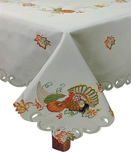 """<p><strong>Creative Linens</strong></p><p>amazon.com</p><p><strong>$45.99</strong></p><p><a href=""""https://www.amazon.com/dp/B07YJ8CL13?tag=syn-yahoo-20&ascsubtag=%5Bartid%7C10070.g.33660033%5Bsrc%7Cyahoo-us"""" rel=""""nofollow noopener"""" target=""""_blank"""" data-ylk=""""slk:Shop Now"""" class=""""link rapid-noclick-resp"""">Shop Now</a></p><p>This tablecloth features embroidered designs of leaves and turkey and has scalloped edges with cutout details. </p> <p><em>Want more Woman's Day? <a href=""""https://subscribe.hearstmags.com/subscribe/womansday/253396?source=wdy_edit_article"""" rel=""""nofollow noopener"""" target=""""_blank"""" data-ylk=""""slk:Subscribe to Woman's Day"""" class=""""link rapid-noclick-resp"""">Subscribe to Woman's Day</a> today and get <strong>73% off your first 12 issues</strong>. And while you're at it, <a href=""""https://link.womansday.com/join/3o9/wdy-newsletter"""" rel=""""nofollow noopener"""" target=""""_blank"""" data-ylk=""""slk:sign up for our FREE newsletter"""" class=""""link rapid-noclick-resp"""">sign up for our FREE newsletter</a> for even more of the Woman's Day content you want.</em></p>"""