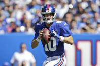 New York Giants quarterback Eli Manning looks to throw during the first half of an NFL football game against the Buffalo Bills, Sunday, Sept. 15, 2019, in East Rutherford, N.J. (AP Photo/Adam Hunger)