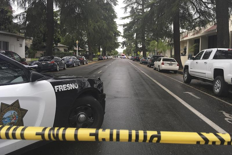 Fresno: A street was blocked off by police: AP