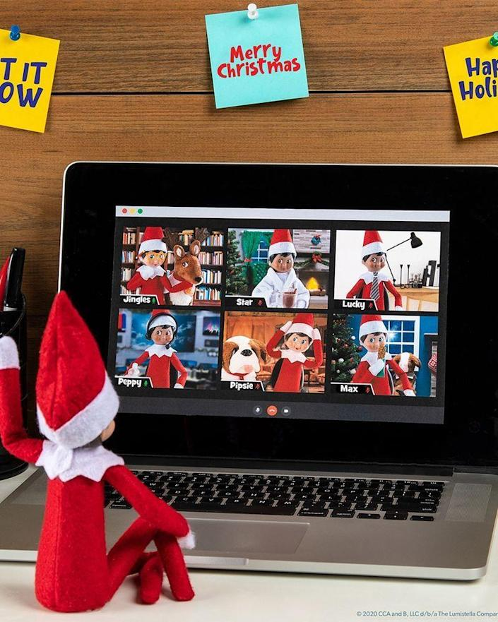 """<p>It's one of the only times a Scout Elf allows other people to watch what he's up to: during a virtual meeting! A downloadable image makes this scenario easy to mimic.</p><p><strong>Get the tutorial at <a href=""""https://elfontheshelf.com/elf-ideas/north-pole-virtual-meeting/"""" rel=""""nofollow noopener"""" target=""""_blank"""" data-ylk=""""slk:Elf on the Shelf"""" class=""""link rapid-noclick-resp"""">Elf on the Shelf</a>.</strong> </p>"""