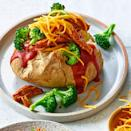 """<p>Use leftover cooked pork to whip together these easy BBQ pork baked potatoes. Add steamed broccoli and Cheddar cheese to round out this easy healthy dinner. <a href=""""http://www.eatingwell.com/recipe/275784/bbq-baked-potatoes-with-pork-broccoli/"""" rel=""""nofollow noopener"""" target=""""_blank"""" data-ylk=""""slk:View recipe"""" class=""""link rapid-noclick-resp""""> View recipe </a></p>"""
