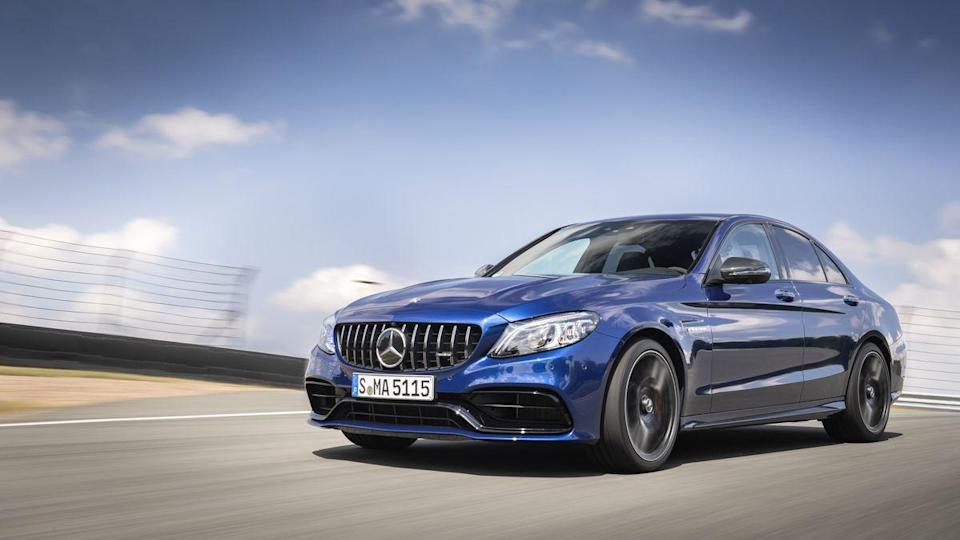 "<p>The number of high-performance SUVs is growing every year, but if you're on the market for a compact car that can blow away almost everything else on the road look no further than the <a href=""https://www.caranddriver.com/mercedes-amg/c43"" rel=""nofollow noopener"" target=""_blank"" data-ylk=""slk:2021 Mercedes-AMG C63"" class=""link rapid-noclick-resp"">2021 Mercedes-AMG C63</a>. It's based on the <a href=""https://www.caranddriver.com/mercedes-benz/c-class"" rel=""nofollow noopener"" target=""_blank"" data-ylk=""slk:Mercedes-Benz C-class,"" class=""link rapid-noclick-resp"">Mercedes-Benz C-class,</a> but has a twin-turbocharged V-8 engine making 469 horsepower in the C63 and 503 hp in the C63 S. The C63 also has a sportier suspension tune (you'll notice a harsher ride) and some exterior differences compared to the regular C-class that add some aggression to its appearance. It's available as a sedan, a coupe, or a convertible, and it goes like it's got a Saturn V booster rocket strapped to its roof. Plus, it has a legitimately luxurious interior and plenty of up-to-the-minute technology, so you're not trading anything away in return for the performance.</p><p><a class=""link rapid-noclick-resp"" href=""https://www.caranddriver.com/mercedes-amg/c43"" rel=""nofollow noopener"" target=""_blank"" data-ylk=""slk:Review, Pricing, and Specs"">Review, Pricing, and Specs</a></p>"