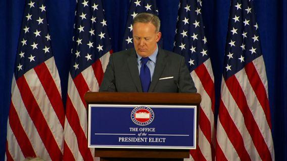 Incoming White House Press Secretary Sean Spicer gave a brief preview of President-elect Donald Trump's inaugural address, and also talked about priorities for the first days of the Trump administration. (Photo: AP)