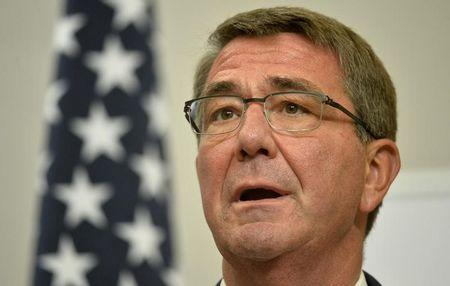 U.S. Secretary of Defence Ash Carter attends a press conference with Britain's Defence Secretary Michael Fallon at the Foreign Office in London