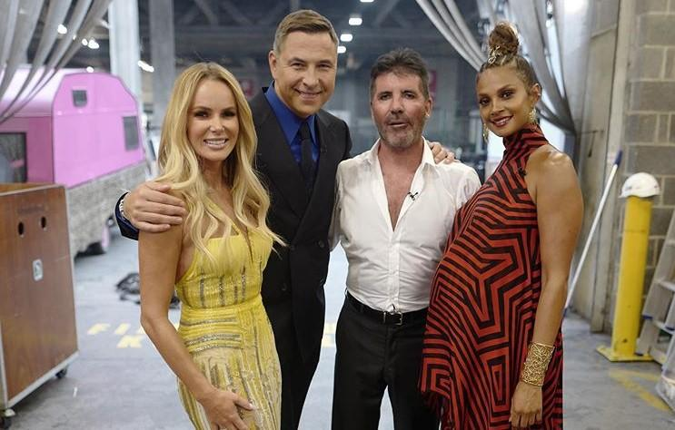 Amanda Holden, David Walliams, Simon Cowell and Alesha Dixon pose for a behind-the-scenes photo while filming 'Britain's Got Talent: The Champions' (David Walliams/Instagram)