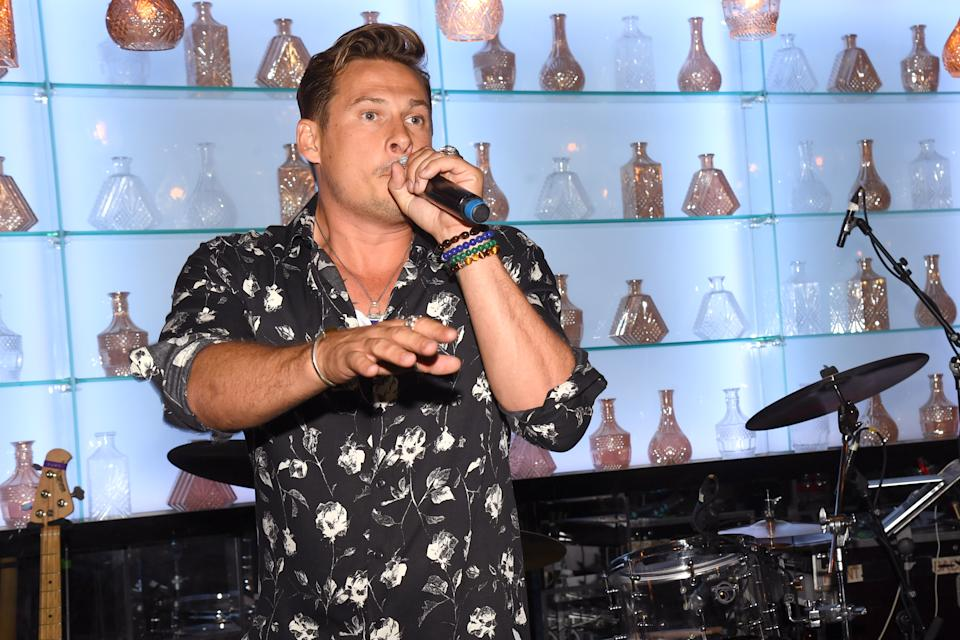 LONDON, ENGLAND - JULY 11: Lee Ryan of Blue performs during The Paul Strank Charity Summer Party at Opium on July 11, 2019 in London, England. (Photo by Dave J Hogan/Getty Images)