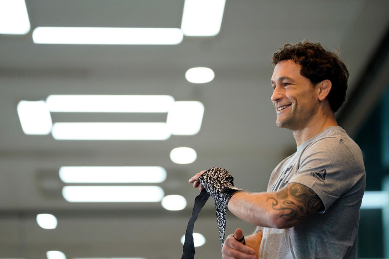 BUSAN, SOUTH KOREA - DECEMBER 18: Frankie Edgar holds an open training session for fans and media during the UFC Fight Night Open Workouts at City Hall on December 18, 2019 in Busan, South Korea. (Photo by Jeff Bottari/Zuffa LLC via Getty Images)
