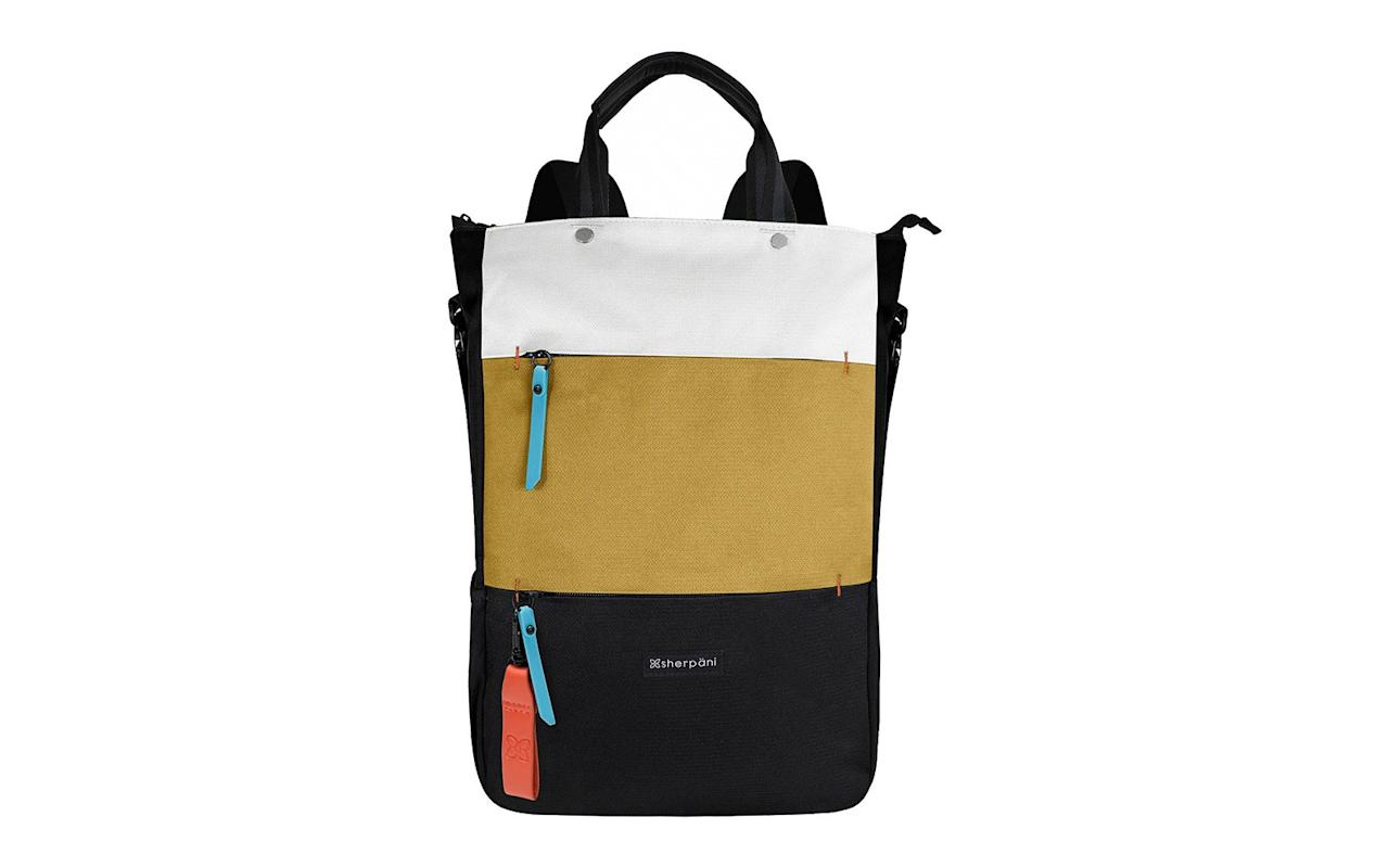 """<p>This eco-friendly bag transforms into a backpack, tote, and a crossbody and just may be the most versatile accessory we've ever seen. It is roomy enough to fit a 15-inch laptop and features built-in RFID technology that protects you from identity theft.</p> <p>To buy: <a href=""""http://ebags.evyy.net/c/249354/207595/3588?subId1=TL%2C15ConvertibleBagsThatDoDouble%2528andTriple%2529Duty%2Cdibeneds%2CTRA%2CGAL%2C721726%2C201910%2CI&u=https%3A%2F%2Fwww.ebags.com%2Fproduct%2Fsherpani%2Fcamden-backpacktotecrossbody%2F305526"""" target=""""_blank"""">ebags.com</a>, $99</p>"""
