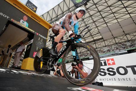 Cycling - The 104th Tour de France cycling race - The 22.5-km individual time trial Stage 20 from Marseille to Marseille, France - July 22, 2017 - AG2R-La Mondiale rider Jan Bakelants of Belgium starts. REUTERS/Benoit Tessier