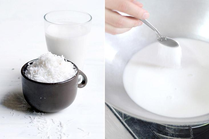 Add sugar and salt to the coconut cream to heighten its flavour.