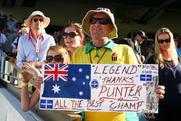 A fan poses with a message for Ricky Ponting during day four of the Third Test Match between Australia and South Africa at the WACA on December 3, 2012 in Perth, Australia. (Photo by Cameron Spencer/Getty Images