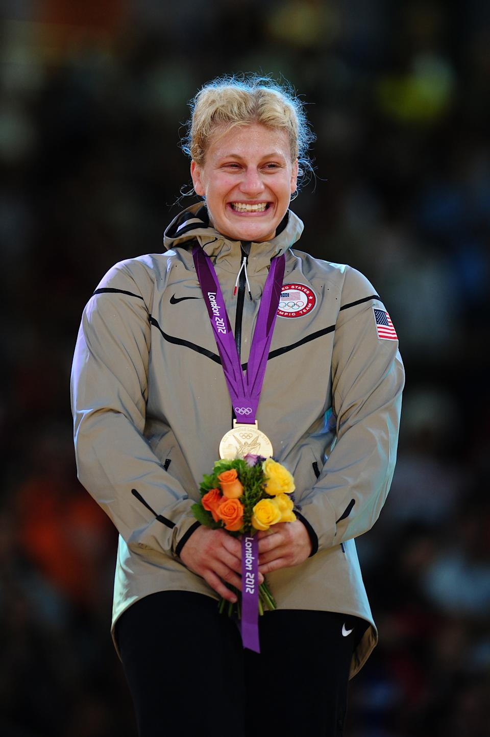 Gold medalist Kayla Harrison of the United States in the Women's -78 kg Judo on Day 6 of the London 2012 Olympic Games at ExCeL on August 2, 2012 in London, England. (Photo by Laurence Griffiths/Getty Images)